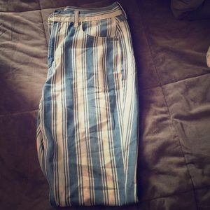 American eagle white and blue stripped pants